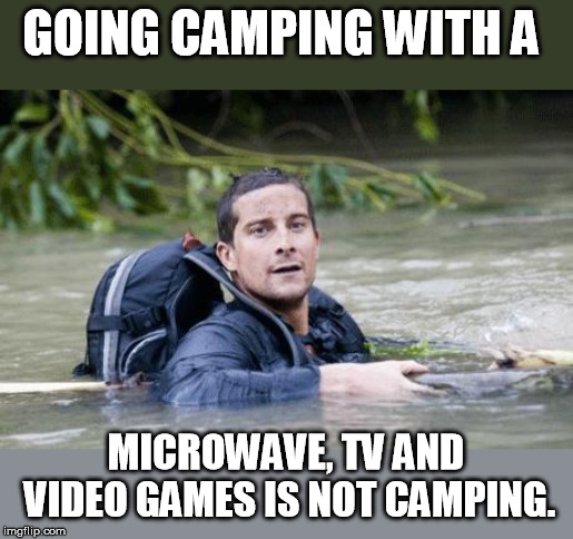 Just saying..... | GOING CAMPING WITH A MICROWAVE, TV AND VIDEO GAMES IS NOT CAMPING. | image tagged in bear grylls survival tip | made w/ Imgflip meme maker