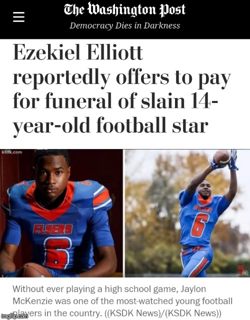 6cea7b490 Zeke Pays For Slain Boy Funeral | Dallas Cowboys Forum - CowboysZone.com