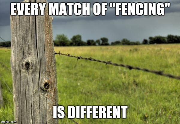 "fence post | EVERY MATCH OF ""FENCING"" IS DIFFERENT 