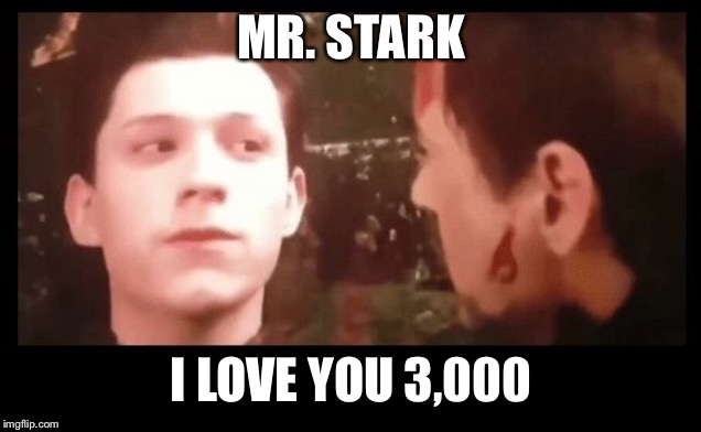 MR. STARK I LOVE YOU 3,000 | image tagged in i don't wanna go mr stark | made w/ Imgflip meme maker
