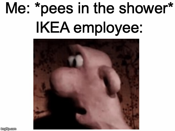 Unsettled Wallace | Me: *pees in the shower* IKEA employee: | image tagged in memes,funny,dank memes,ikea,wallace and gromit,unsettled wallace | made w/ Imgflip meme maker