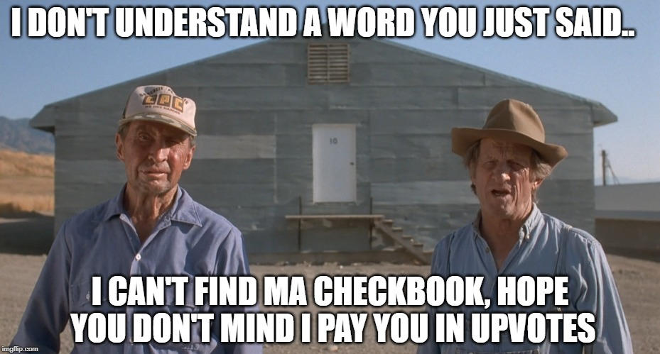 I DON'T UNDERSTAND A WORD YOU JUST SAID.. I CAN'T FIND MA CHECKBOOK, HOPE YOU DON'T MIND I PAY YOU IN UPVOTES | made w/ Imgflip meme maker