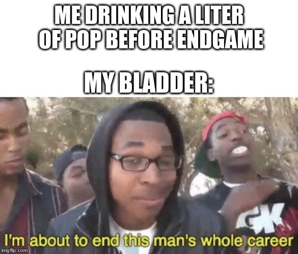 I peed 5 times during that movie | ME DRINKING A LITER OF POP BEFORE ENDGAME MY BLADDER: | image tagged in im about to end this mans whole career,memes,avengers endgame,avengers 4,soda | made w/ Imgflip meme maker