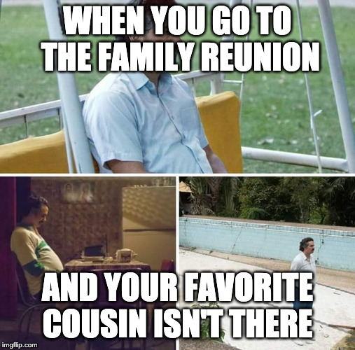 sad pablo escobar | WHEN YOU GO TO THE FAMILY REUNION AND YOUR FAVORITE COUSIN ISN'T THERE | image tagged in sad pablo escobar | made w/ Imgflip meme maker