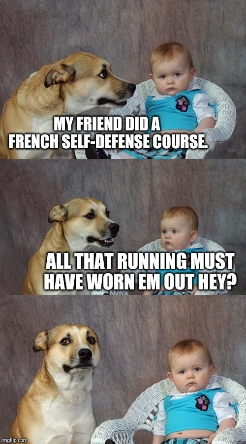 Dad Joke Dog Meme | MY FRIEND DID A FRENCH SELF-DEFENSE COURSE. ALL THAT RUNNING MUST HAVE WORN EM OUT HEY? | image tagged in memes,dad joke dog | made w/ Imgflip meme maker