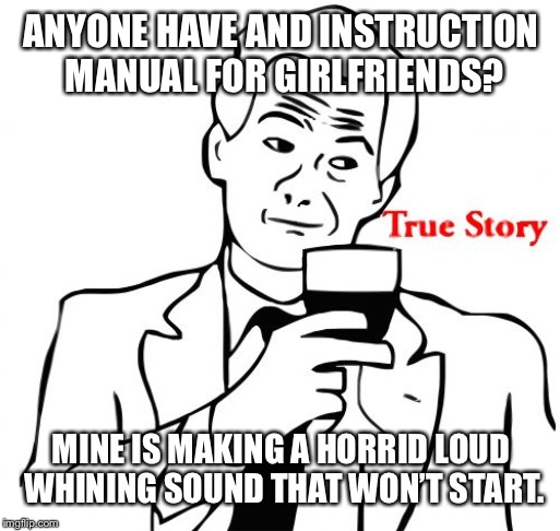 True Story Meme | ANYONE HAVE AND INSTRUCTION MANUAL FOR GIRLFRIENDS? MINE IS MAKING A HORRID LOUD WHINING SOUND THAT WON'T START. | image tagged in memes,true story | made w/ Imgflip meme maker
