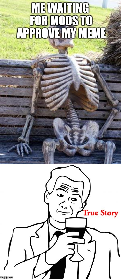 ME WAITING FOR MODS TO APPROVE MY MEME | image tagged in memes,true story,waiting skeleton | made w/ Imgflip meme maker