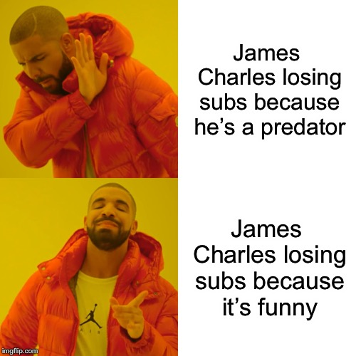 Drake Hotline Bling Meme | James Charles losing subs because he's a predator James Charles losing subs because it's funny | image tagged in memes,drake hotline bling | made w/ Imgflip meme maker