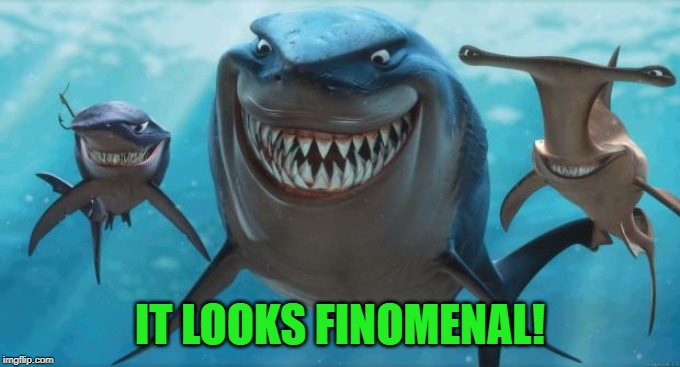 Finding Nemo Sharks | IT LOOKS FINOMENAL! | image tagged in finding nemo sharks | made w/ Imgflip meme maker