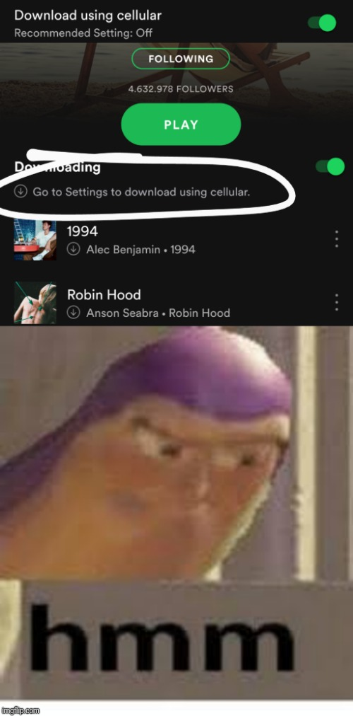 Spotify wat | image tagged in buzz lightyear,hmm | made w/ Imgflip meme maker