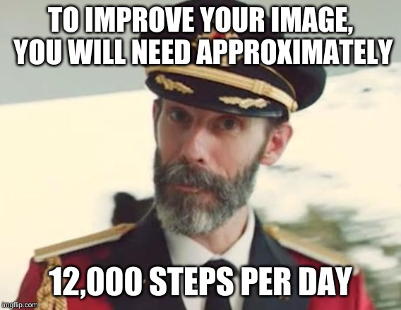 Captain Obvious | TO IMPROVE YOUR IMAGE, YOU WILL NEED APPROXIMATELY 12,000 STEPS PER DAY | image tagged in captain obvious | made w/ Imgflip meme maker