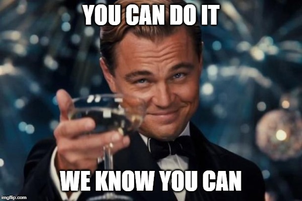 Leonardo Dicaprio Cheers Meme | YOU CAN DO IT WE KNOW YOU CAN | image tagged in memes,leonardo dicaprio cheers | made w/ Imgflip meme maker