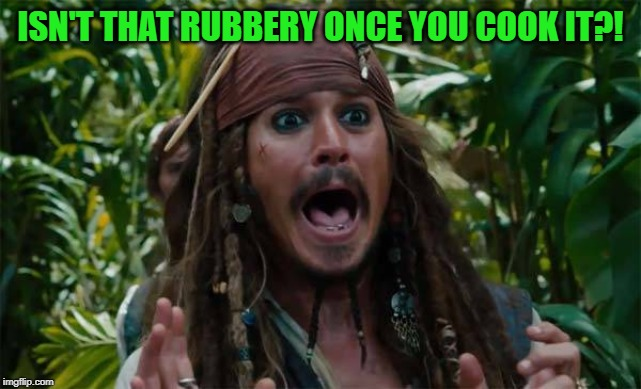 Capt Jack Sparrow Ahhh | ISN'T THAT RUBBERY ONCE YOU COOK IT?! | image tagged in capt jack sparrow ahhh | made w/ Imgflip meme maker