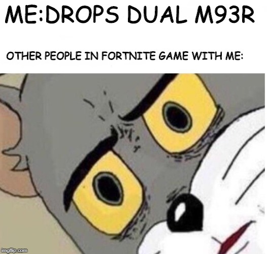ME:DROPS DUAL M93R OTHER PEOPLE IN FORTNITE GAME WITH ME: | image tagged in confused tom | made w/ Imgflip meme maker