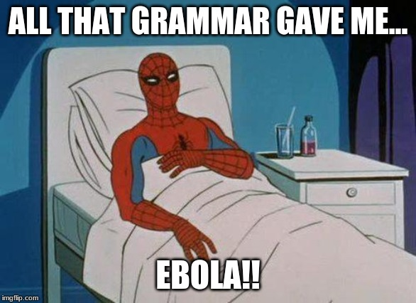 Spiderman Hospital Meme | ALL THAT GRAMMAR GAVE ME... EBOLA!! | image tagged in memes,spiderman hospital,spiderman | made w/ Imgflip meme maker
