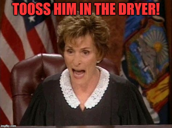 Judge Judy | TOOSS HIM IN THE DRYER! | image tagged in judge judy | made w/ Imgflip meme maker