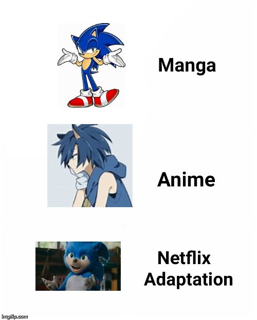 Sonic Evolution In Designs | image tagged in manga anime netflix adaptation meme,sonic the hedgehog,i see what you did there - anime meme,graphic design problems | made w/ Imgflip meme maker