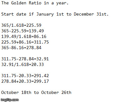 The Golden Ratio in a year.  This is not about religion.  No holier than thou-ness should be applied to these dates. | image tagged in the golden ratio,calendar,time,dates,math | made w/ Imgflip meme maker