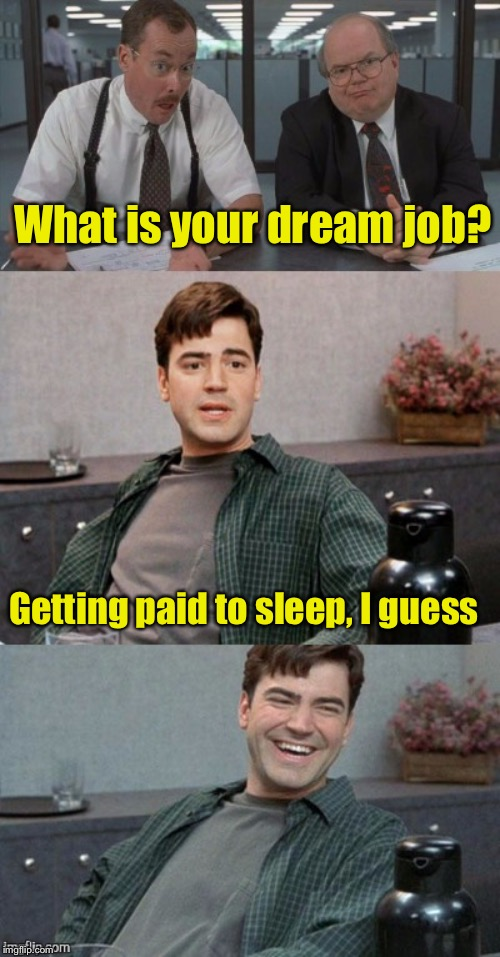 Dream Job | What is your dream job? Getting paid to sleep, I guess | image tagged in office space interview,dream,job interview | made w/ Imgflip meme maker