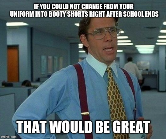 That Would Be Great Meme | IF YOU COULD NOT CHANGE FROM YOUR UNIFORM INTO BOOTY SHORTS RIGHT AFTER SCHOOL ENDS THAT WOULD BE GREAT | image tagged in memes,that would be great | made w/ Imgflip meme maker