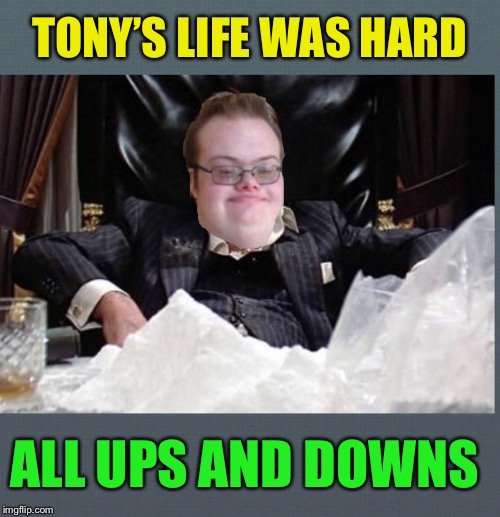 One extra occupant for Cell ( chromosome) 21 | TONY'S LIFE WAS HARD ALL UPS AND DOWNS | image tagged in cocaine,ups and downs,trisomy 21,tony montana,third copy of genes on chromosome twenty one,downs  syndrome | made w/ Imgflip meme maker