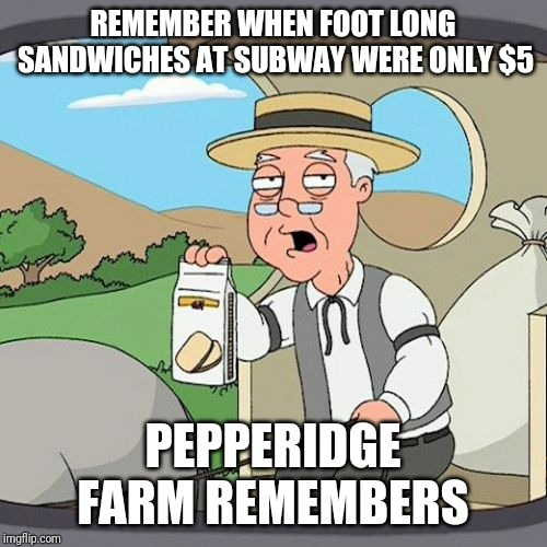 Pepperidge Farm Remembers Meme | REMEMBER WHEN FOOT LONG SANDWICHES AT SUBWAY WERE ONLY $5 PEPPERIDGE FARM REMEMBERS | image tagged in memes,pepperidge farm remembers | made w/ Imgflip meme maker