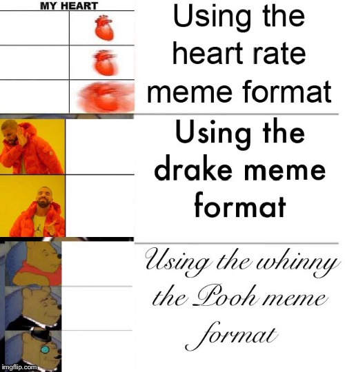 Meme format of meme formats | image tagged in whinny whe pooh,drake,heart rate | made w/ Imgflip meme maker