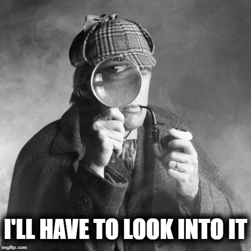 Sherlock Holmes | I'LL HAVE TO LOOK INTO IT | image tagged in sherlock holmes | made w/ Imgflip meme maker