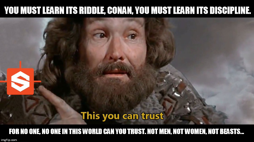 Conan-RiddleOfSteel | YOU MUST LEARN ITS RIDDLE, CONAN, YOU MUST LEARN ITS DISCIPLINE. FOR NO ONE, NO ONE IN THIS WORLD CAN YOU TRUST. NOT MEN, NOT WOMEN, NOT BEA | image tagged in conan the barbarian,trust,steel | made w/ Imgflip meme maker