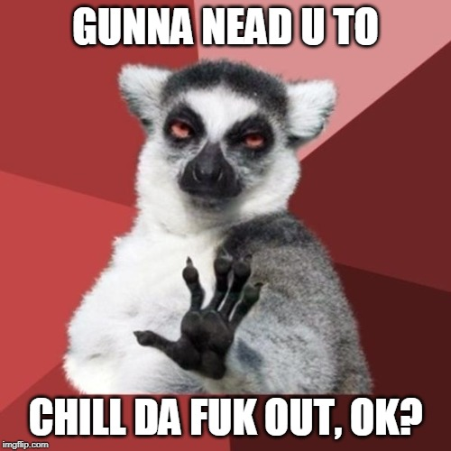 Chill Out Lemur | GUNNA NEAD U TO CHILL DA FUK OUT, OK? | image tagged in memes,chill out lemur | made w/ Imgflip meme maker