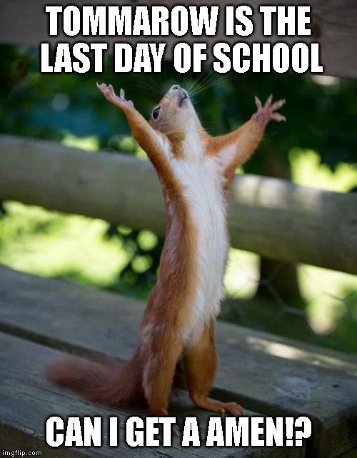 Happy Squirrel | TOMMAROW IS THE LAST DAY OF SCHOOL CAN I GET A AMEN!? | image tagged in happy squirrel,school | made w/ Imgflip meme maker
