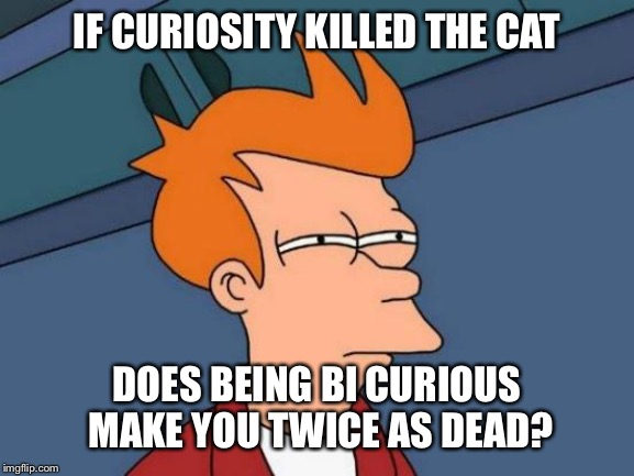 Futurama Fry Meme | IF CURIOSITY KILLED THE CAT DOES BEING BI CURIOUS MAKE YOU TWICE AS DEAD? | image tagged in memes,futurama fry | made w/ Imgflip meme maker