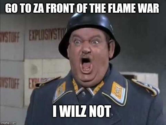 Sgt. Schultz shouting | GO TO ZA FRONT OF THE FLAME WAR I WILZ NOT | image tagged in sgt schultz shouting | made w/ Imgflip meme maker