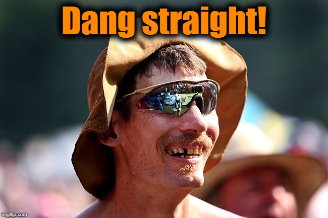 redneck | Dang straight! | image tagged in redneck | made w/ Imgflip meme maker