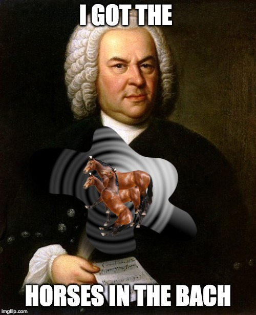 I GOT THE HORSES IN THE BACH | image tagged in bach,music,musician jokes,horses | made w/ Imgflip meme maker