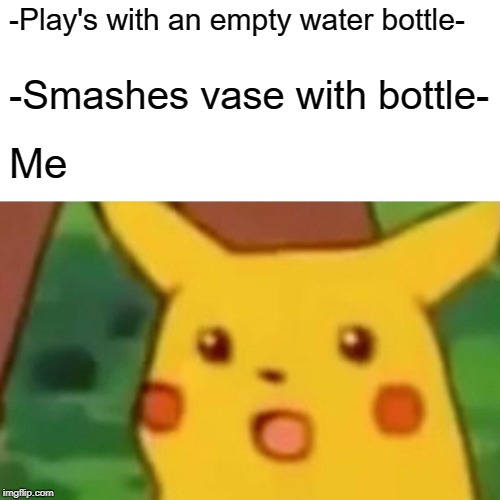 Empty bottles are dangerous | -Play's with an empty water bottle- -Smashes vase with bottle- Me | image tagged in memes,surprised pikachu | made w/ Imgflip meme maker