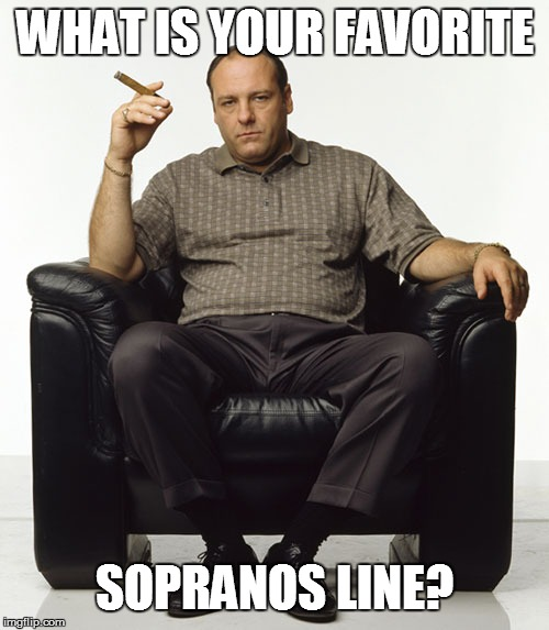 Tony Soprano | WHAT IS YOUR FAVORITE SOPRANOS LINE? | image tagged in tony soprano | made w/ Imgflip meme maker