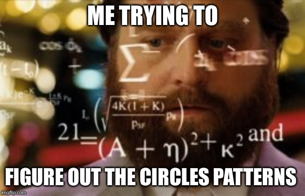 Trying to calculate how much sleep I can get |  ME TRYING TO; FIGURE OUT THE CIRCLES PATTERNS | image tagged in trying to calculate how much sleep i can get | made w/ Imgflip meme maker