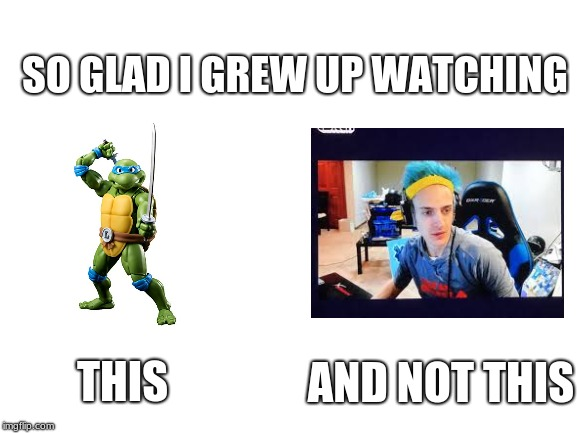 So glad I grew up watching | SO GLAD I GREW UP WATCHING THIS AND NOT THIS | image tagged in memes,ninja | made w/ Imgflip meme maker