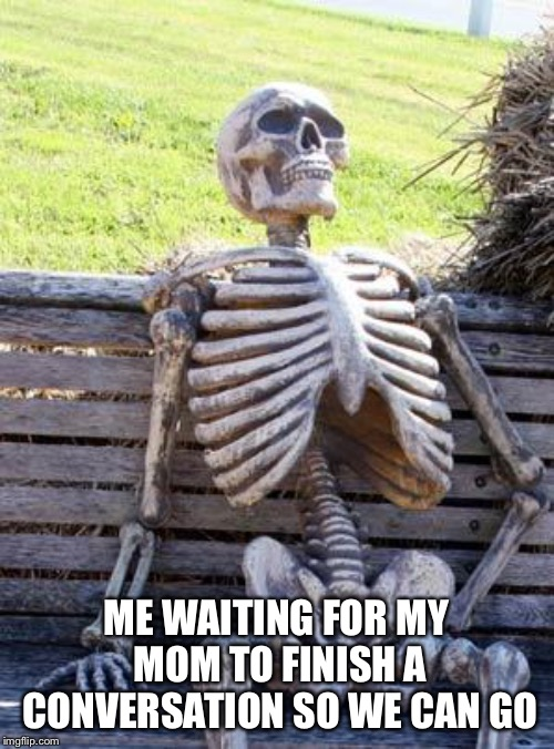 Mooommm can we go | ME WAITING FOR MY MOM TO FINISH A CONVERSATION SO WE CAN GO | image tagged in memes,waiting skeleton,mom | made w/ Imgflip meme maker