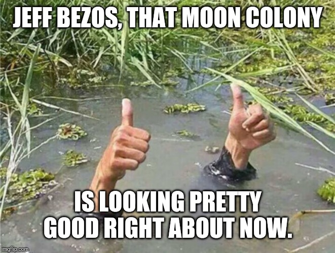 Drowning Thumbs Up |  JEFF BEZOS, THAT MOON COLONY; IS LOOKING PRETTY GOOD RIGHT ABOUT NOW. | image tagged in drowning thumbs up | made w/ Imgflip meme maker