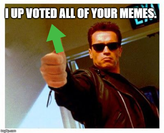 terminator thumbs up | I UP VOTED ALL OF YOUR MEMES. | image tagged in terminator thumbs up | made w/ Imgflip meme maker