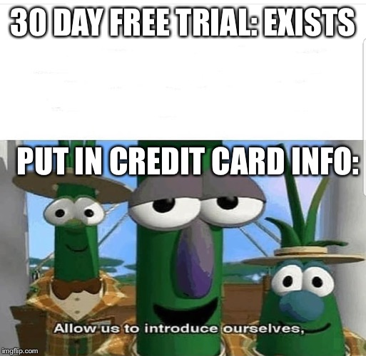 Allow us to introduce ourselves | 30 DAY FREE TRIAL: EXISTS PUT IN CREDIT CARD INFO: | image tagged in allow us to introduce ourselves,credit card,veggietales | made w/ Imgflip meme maker