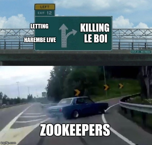 Left Exit 12 Off Ramp Meme | LETTING HAREMBE LIVE KILLING LE BOI ZOOKEEPERS | image tagged in memes,left exit 12 off ramp | made w/ Imgflip meme maker