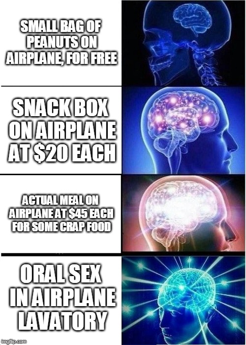Expanding Brain Meme | SMALL BAG OF PEANUTS ON AIRPLANE, FOR FREE SNACK BOX ON AIRPLANE AT $20 EACH ACTUAL MEAL ON AIRPLANE AT $45 EACH FOR SOME CRAP FOOD ORAL SEX | image tagged in memes,expanding brain | made w/ Imgflip meme maker