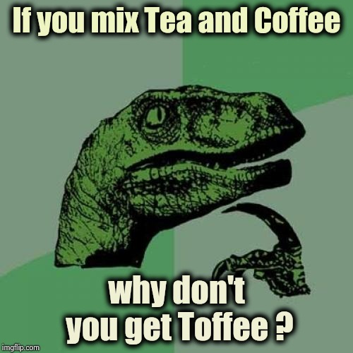 I tried it . . . | If you mix Tea and Coffee why don't you get Toffee ? | image tagged in memes,philosoraptor,remix,drinks,bartender,hey | made w/ Imgflip meme maker