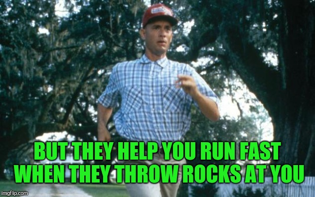 run forrest run | BUT THEY HELP YOU RUN FAST WHEN THEY THROW ROCKS AT YOU | image tagged in run forrest run | made w/ Imgflip meme maker