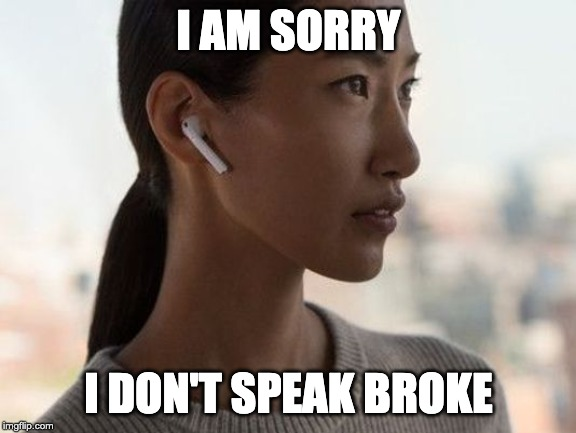 I AM SORRY I DON'T SPEAK BROKE | image tagged in airpod | made w/ Imgflip meme maker