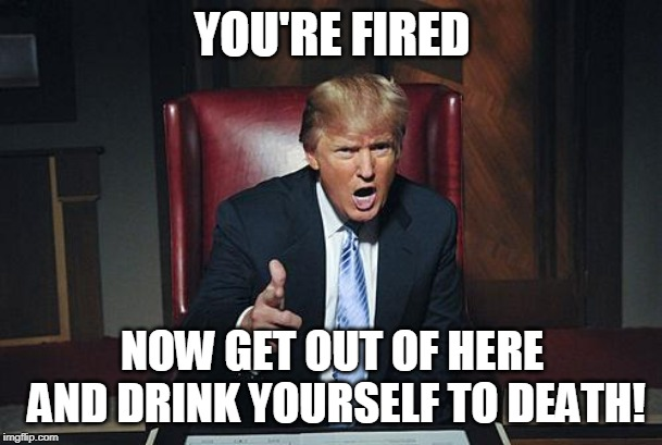 Donald Trump You're Fired | YOU'RE FIRED NOW GET OUT OF HERE AND DRINK YOURSELF TO DEATH! | image tagged in donald trump you're fired | made w/ Imgflip meme maker