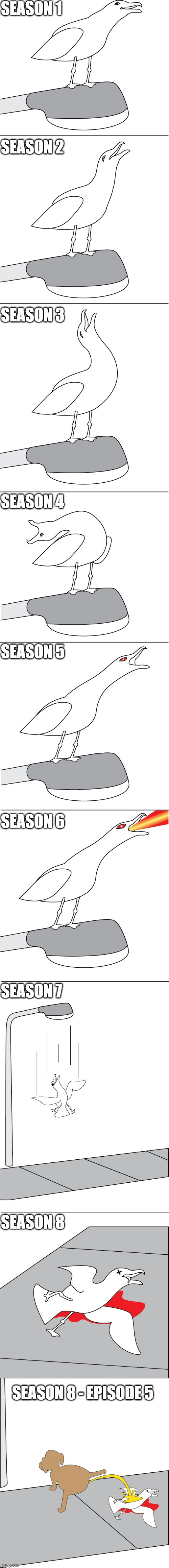 GAME OF THRONES | SEASON 1 SEASON 2 SEASON 3 SEASON 4 SEASON 5 SEASON 6 SEASON 7 SEASON 8 SEASON 8 - EPISODE 5 | image tagged in seagull,game of thrones | made w/ Imgflip meme maker